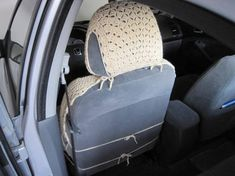 Set of 6 Crochet Car Front Seat Covers oatmeal