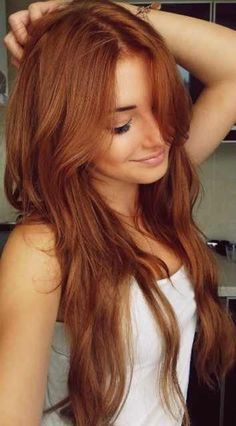 Long strawberry blonde hair