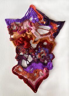 Unique Freeform Crochet Fiber Art, Tapestry, Wall Hanging