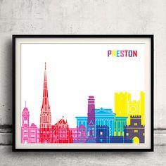 Preston pop art skyline  Fine Art Print Glicee by Paulrommer