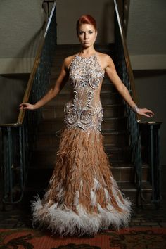 American Smooth Ballgowns by Designs To Shine. Decadent and glamourous design. Melaina looks like a silver screen siren.