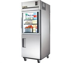 "TRUE Pass Thru Refrigerator / Cooler one-section, (3) vinyl coated shelves, 300 series stainless steel exterior, white aluminum interior with stainless steel floor, 37-1/4""deep, (1) glass & (1) stainless steel half door front, (1) stainless steel full door rear"