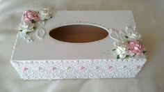 Tissue box cover hand decorated lacey tissue by Aligri on Etsy