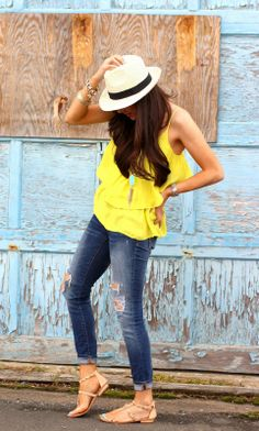 The Sweetest Thing: Yellow ruffle tank + jeans + Panama hat