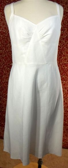 ANN TAYLOR white linen blend spaghetti straps dress 10  (TCF08H5) #AnnTaylorLOFT #Sundress #Cocktail