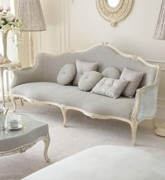 Style Soft Grey Designer Sofa Venetian Style Ivory Italian Sofa at Juliettes Interiors, a large collection of Classical Furniture.Venetian Style Ivory Italian Sofa at Juliettes Interiors, a large collection of Classical Furniture. Shabby Chic Furniture, Luxury Furniture, Furniture Design, Antique Furniture, Antique Sofa, Modern Furniture, Italian Furniture, Bedroom Furniture, Furniture Ideas