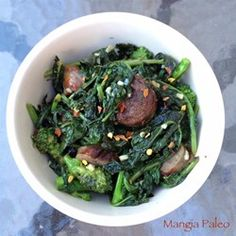 "Paleo Broccoli Rabe and Sausage | ""I used jalapeno chicken sausage. Yum! Fast and easy."""