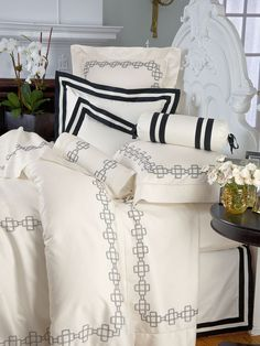 Knightsbridge - Embroidered by hand with a chain of links inspired by heraldic shields from medieval times, lustrous Egyptian cotton sateen from Italy, 600 thread count, makes a bold statement on behalf of timeless décor. This exciting import can be yours in Ivory with Black or White with Gray embroidery, tailored with impeccable hand hemstitching and knife-edge flanges.  #Bedding #BedLinen #Sheets #DuvetCover #PillowShams #SchweitzerLinen #Luxury