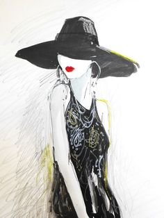Black Hat.  Limted Edition Print By artist Ros Webb by roswebbart, $18.00