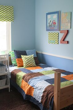 twin boys truck room- easy DIY decor ideas