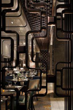 Modern Design and Living Bar Restaurant, Restaurant Design, Chinese Restaurant, Commercial Design, Commercial Interiors, Luxury Hotel Design, Luxury Bar, Interior Architecture, Interior Design