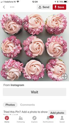 How to frost cupcakes Cupcakes Design, Fancy Cupcakes, Wedding Cakes With Cupcakes, Cake Designs, Birthday Cupcakes, Flower Cupcakes, Cupcake Icing Designs, Cupcake Wedding, Valentine Cupcakes