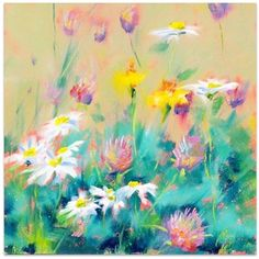A Daisy Wish Canvas ($225) ❤ liked on Polyvore featuring home, home decor, wall art, backgrounds, backgrounds flowered, paintings, flower home decor, daisy painting, flower paintings and flower canvas painting