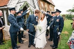Classic Marquee Wedding With Bride In Sleeved Chanticleer Gown And Groom In Navy RAF Uniform With Bridesmaids In White And Images By Daffodil Waves Photography Bridesmaid Dresses, Wedding Dresses, Bridesmaids, Waves Photography, Marquee Wedding, Royal Navy, Daffodils, Military Weddings, Groom