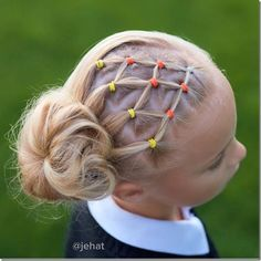 Candy corn elastic hairstyle - this is so adorable and easy to do! Love this cute style for my girls this Halloween