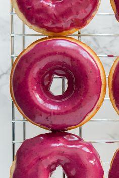 Vanilla Bean Cake Donuts with Blueberry Glaze