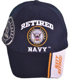 US Retired Navy Hat Blue and White Baseball Cap Military Logo 299d347b6730