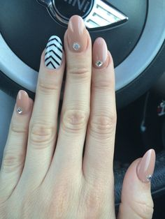 Oval nails acrylic nail design with diamonds beige nails nail nail design acrylic nail design oval nail beige nails with design prinsesfo Gallery