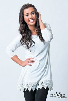 Tunic with Lace Trim, add lace to bottoms of shirts.
