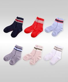 Look at this Naartjie Kids Red & Gray Stripe Ribbed Six-Pair Socks Set on today! Striped Socks, Grey Stripes, Kids Fashion, Cozy, Yellow, Red, Learning, Places, Socks