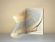 Book Statement - book sculpture - folded book- OoaK. €56,00, via Etsy.