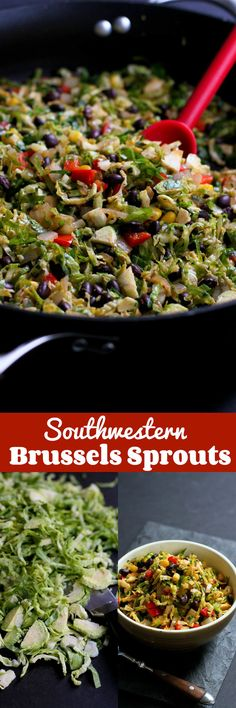 Southwestern Brussels Sprouts with Black Beans and Corn…Spruce up sautéed Brussels sprouts by adding a southwestern twist! 144 calories and 3 Weight Watchers SmartPoints #VegItUp