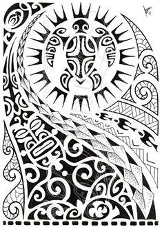 polynesian-shoulder-tattoo-with-turtle-mantas-pigeons-sun-lizard-all-seeing-eye-symbols.jpg (424×600)
