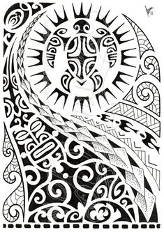 polynesian-shoulder-tattoo-with-turtle-mantas-pigeons-sun-lizard-all-seeing-eye-symbols.jpg (424×600)