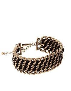 French Connection Black and Gold Bracelet