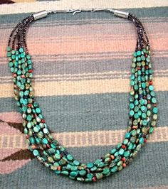 Item #787A- Navajo 7 Strand Turquoise Heshi Necklace by E.M. Teller