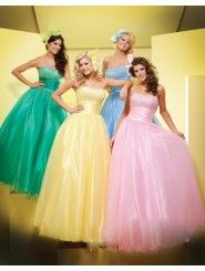Tulle Ball Gown Strapless Softly Curved Neckline Beaded Bodice Prom Dress
