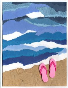 "By Cindy. Torn paper ""waves"" and rice paper ""sand."" or brown construction paper. flip flop stickers?"
