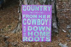 She's Country Song Lyrics Canvas Art, Country Word Art on Etsy, $25.00