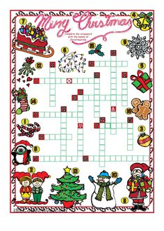 Most recent Photographs christmas worksheets Style Ienc that will holiday ag Christmas Crossword, Christmas Worksheets, Christmas Activities For Kids, Fun Worksheets, Christmas Games, Christmas Music, Christmas Printables, Winter Christmas, Christmas Crafts