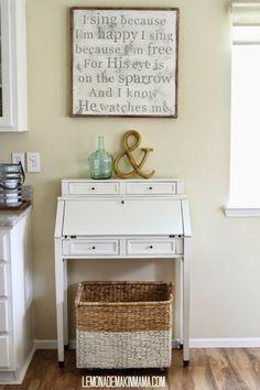 Lemonade Makin' Mama- quick storage DIY project- a basket on casters