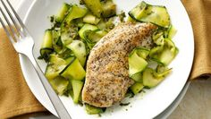 Paleo Lemon Chicken with Pesto Zucchini Pasta--maybe replace pine nuts with sun flower seeds