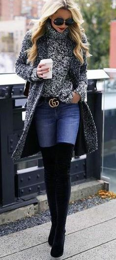 This is a look I could wear to school. The belt is a nice extra to go with the thigh highs.  london style
