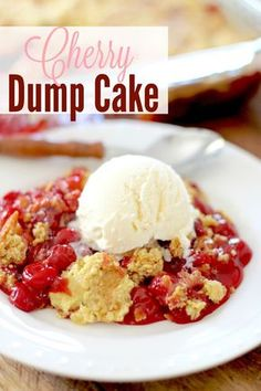 """This easy Cherry Dump Cake dessert is made with cake mix, cherry pie filling, butter and a secret ingredient. """"Dump"""" and bake! Homemade Desserts, Easy Desserts, Delicious Desserts, Yummy Food, Cherry Desserts, Tasty, Dump Cake Recipes, Dessert Recipes, Dump Cakes"""