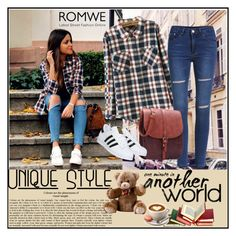 """""""Romwe 2/VIII"""" by merima-p ❤ liked on Polyvore featuring adidas, women's clothing, women's fashion, women, female, woman, misses and juniors"""