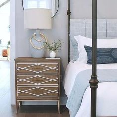Brown Wood 4 Poster Bed with Black and White Bedding – Transitional – Bedroom – Hazir Site Bedroom Green, White Bedroom, Bedroom Sets, Bedroom Wall, Bedroom Decor, Master Bedrooms, Bedroom Inspo, Master Suite, Slipcovered Headboard
