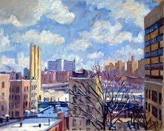 Oil Painting Landscape Cool Bright Snow NYC. 12x12