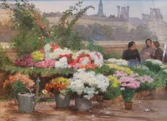 Flower Sellers on the Seine  ~ Victor Gabriel Gilbert (French, 1847-1935)