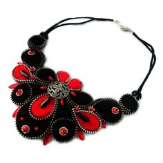Zipper and Felt Necklace with Button Black and Red by PinkiWorld, $200.00