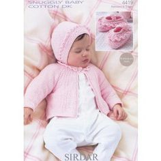 Cardigan, Bonnet and Shoes in Sirdar Snuggly Baby Cotton DK - 4419 Easy Knitting Patterns, Weaving Patterns, Knitting For Kids, Baby Patterns, Baby Knitting, Vintage Crochet, Vintage Sewing, Jacket Pattern, Baby Wearing