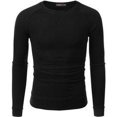 Doublju Mens Long Sleeve Half Turtle Neck Split Hem T-shirt at Amazon... ($12) ❤ liked on Polyvore featuring men's fashion, men's clothing, men's shirts e men's t-shirts