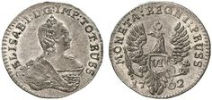 VI Groschen. Russian Coins. Russian Coinage for East Prussia. Konigsberg (Bitkin Moscow) mint, 1762. 2,95g. Bit 810. RR! Choice about uncirculated. Price realized 2011: 9.250 USD.