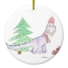 Dinosaur Santas Little Helper Circular Ornament from Original From Original…