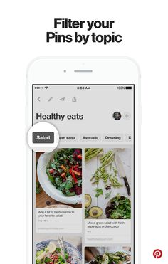 """Your mobile profile features filters that let you quickly see all the Pins you saved for your favorite topics. So if you've saved tons of recipes, you can get cooking faster by filtering by """"salads"""" """"desserts"""" and more."""