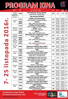 Program kina 7-25 listopada 2016 r.
