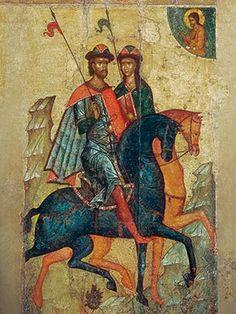 SS Boris and Gleb, 6×8, $4.00. Catalog of St. Elisabeth Convent. #CatalogOfGoodDeed #handmade #buy #order #icon #saints #church #orthodox #Christianity #wood #ecclesiastical #boris #gleb